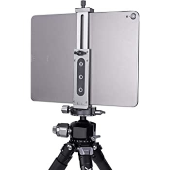 iPad Tablet Tripod Mount Adapter Universal Aluminum Alloy Tablet Phone Stand with Cold Shoe Mount for Ipad, Ipad Air, Ipad Mini, Microsoft Surface, Nexus and Most Tablets (XJ15 Titanium)