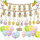 Zsroot - Set di decorazioni pasquali, coniglietti pasquali, striscioni, palloncini, decorazioni pasquali da appendere, decorazioni per Pasqua, festa del Ministero degli interni