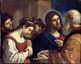Giovanni Francesco Barbieri Guercino Giclee Print On Canvas-Famous Paintings Fine Art Poster-Reproduction Wall Decor(Guercino The Woman Taken In Adultery) Large Size 99.1 x 78.9cm #EDFB