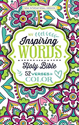 Niv, Inspiring Words Holy Bible, Hardcover: 52 Verses to Color