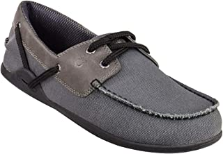 Xero Shoes Boaty - Men's Slip On Boat Shoe - Barefoot Inspired Minimalist Zero Drop Canvas Casual Shoe - Charcoal
