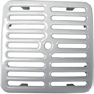 "GSW Cast Iron Porcelain Floor Sink Top Grate with Ceramic Surface FS-TF, 9-⅜"" x 9-⅜"" x 1-¼"" - Perfect for Restaurant, Bar, Buffet (Full Size)"