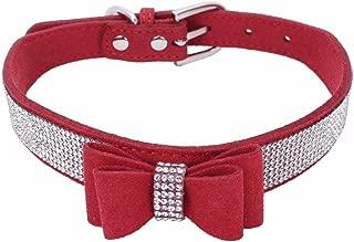 Wakeu Diamond Bowtie Crystal Rhinestone Collars for Small Dog Girl Boy