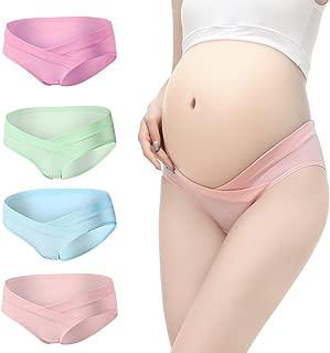 Shentukeji Pregnant Women Cotton Cartoon Print and Solid Color Underwear Set of 4