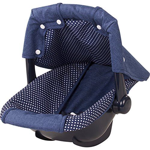 Götz 3402941 Puppen Babytrage & Autositz Denim & Spots (36 x 40 x 29 cm) - Puppentrage für alle Babypuppen von 30 cm bis 46 cm und Stehpuppen von 45 cm bis 50 cm