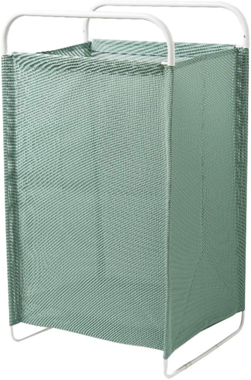 ZHANGQIANG Storage Basket Laundry Basket Iron Art Laundry Folding Type with Lid Large Capacity Storage Barrel Cotton (color   Light bluee, Size   Large)