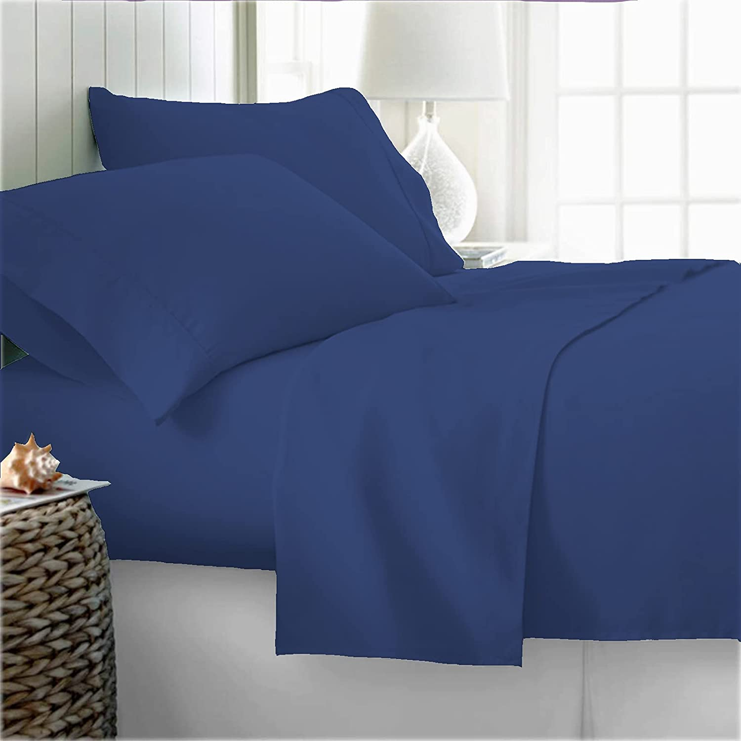 100% Organic Cotton Bed Sheets Twin Sheet Dark XL Bombing free shipping - Blue Discount is also underway