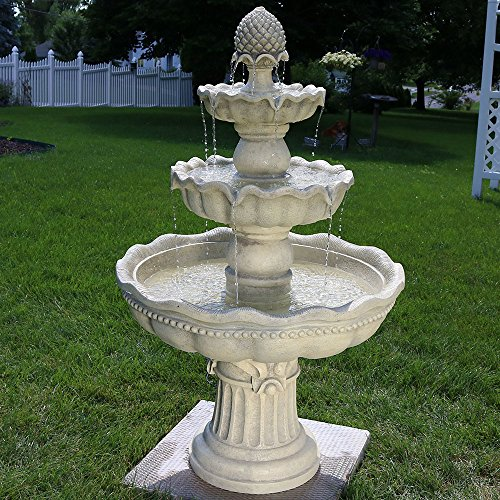 Sunnydaze 3-Tier Outdoor Water Fountain with Pineapple Top - Large Outside Floor Waterfall Fountain Feature for Garden, Backyard, Patio, Porch, or Yard - White, 51 Inch