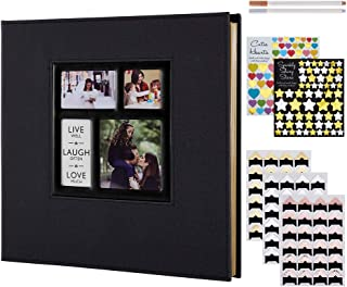 Lanpn Photo Album Self Adhesive Stick Pages, Large Capacity Linen Scrapbook Book Magnetic Photo Picture Albums with Sticky Pages Holds Different Size 4x6 5x7 8x10 (50 Sheets / 100 Pages, Black)