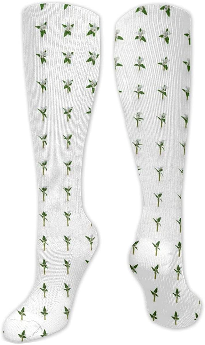 Lily Flowers Pattern Knee High Socks Leg Warmer Dresses Long Boot Stockings For Womens Cosplay Daily Wear