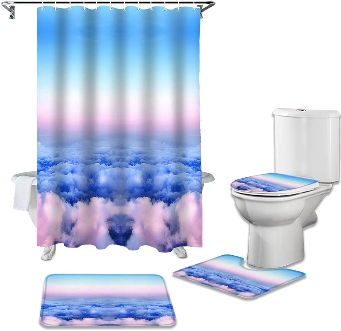 dodouna Beautiful Sky Clouds Bathroom Bath Sets Mat 1 year warranty Set Outlet SALE Curtain