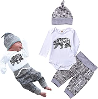 New Newborn Infant Baby Boy Girl Clothes Letter Print Worth The Wait Romper+Striped Pants 3pcs Outfit Set Outdoor
