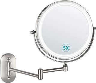 alvorog Espejo de Maquillaje con Luz LED y 1x/5x Aumento Espejos, Espejo de Pared con Doble Cara de 360° Rotación, Luz Aju...