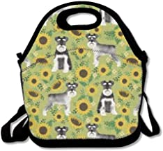 Schnauzer Dog and Sunflower Insulated Lunch Box Tote Bag with Shoulder Strap by Bouble, Perfect for Women, Men & Kids