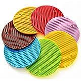 LHQ-HQ Ronda de Silicona Posavasos 7 Colores 7 Piezas Antideslizante Impermeable de Aislamiento Grueso arnés Suave Set Accesorios