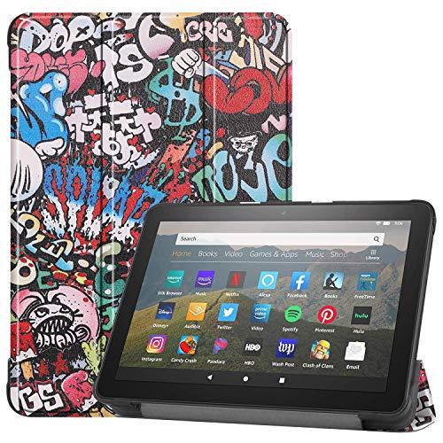 Yobby Hülle für Amazon Fire HD8 2020/HD8 Plus 2020,Ultradünn Leder Tasche Folio Stand Schutzhülle [Eckenschutz] Auto Schlaf/Wach Funktion-Graffiti