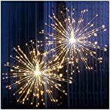 DenicMic Firework Lights 200 LED Starburst Lights Copper Wire Lights, 8 Modes Battery Operated Fairy Lights with Remote, Warm White Hanging Christmas Lights for Party Patio Bedroom Decoration 2 Pack