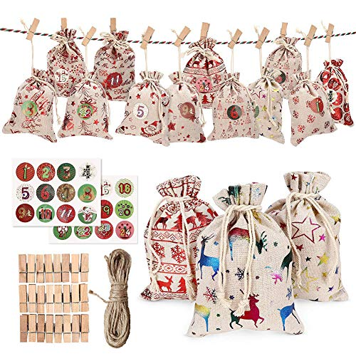 BESUFY Christmas Tree Decorations,Xmas Ornaments for Banquet Holiday Festival Party Wedding Decor 24Pcs Elk Star Print Christmas Candy Storage Bag Drawstring Pouch Rope Clip Kit - Random Color