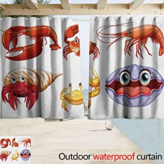 AndyTours Blackout Lining Curtain,Crabs Illustration of Sea Animals Like Crab Hermit Crab Lobster Shells Shrimp Print,Thermal Insulated Back Tab,W72x72L Inches Orange Yellow