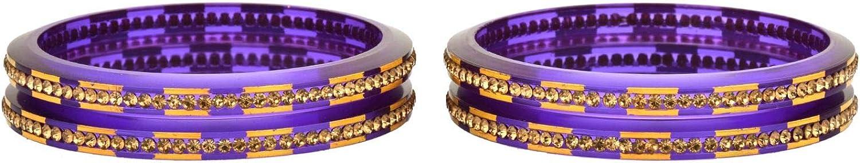 Efulgenz Fashion Jewelry Indian Bollywood Crystal Rhinestone Acrylic Resin Wedding Bridal Bracelet Bangle Set