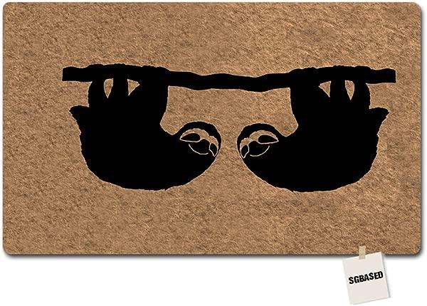SGBASED Door Mat Funny Doormat Sloth On The Tree Mat Washable Floor Entrance Outdoor Indoor Rug Doormat Non Woven Fabric 23 6 X 15 7 Inches