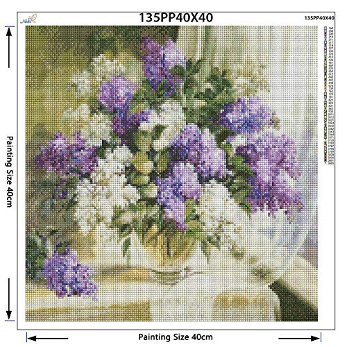 cooldeerydm parelmotief geborduurd violet en wit lila vaas volle vaas 5D diamant tekening strass afbeelding diamant tekening vierkant boring diamant tekening 30 cm x 40 cm