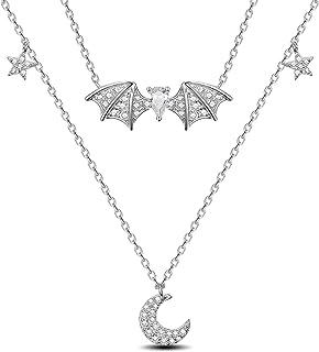 SHEGRACE Orecchini Da Donna Collana Regolabile Collana Con Ciondolo A Pipistrello Lunare Anniversario Compleanno Prom
