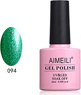 AIMEILI Soak Off UV LED Gel Nail Polish Glitter Christmas - Chilly Shine Green (094) 10ml