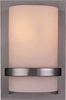 Minka Lavery Wall Sconce Lighting 342-84, Glass Damp Bath Vanity Fixture, 1 Light, 100 Watts, Nickel