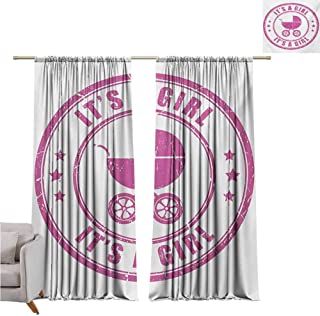 Andrea Sam Black Curtains Gender Reveal,Grunge Its A Girl Retro Stamp with Baby Carriage Artistic Newborn Icon Image,Fuchsia W84 x L96 inch,for Bedroom Embroidery Curtain for Living Room