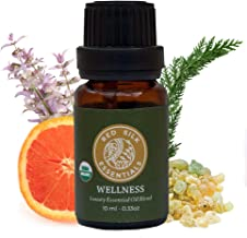 Organic Wellness Essential Oil Blend, 100% Pure USDA Certified Organic - 10ml Undiluted