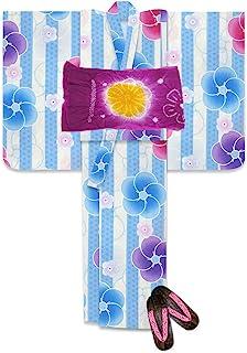 浴衣 こども 女の子 セット レトロな柄の浴衣 兵児帯 下駄 3点セット 選べるサイズ(110 120)「薄水色 ねじり梅」TSGY-04-set-heko