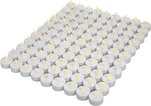 OSHINE 100unidades LED Velas Velas CR2032 pilas velas sin llama de iluminación eléctrica falso Vela para Hogar Navida...