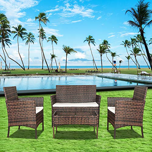 bigzzia Rattan Garden Furniture Set,4 piece Patio Rattan furniture sofa Weaving Wicker includes 2 Armchairs,1 Double seat Sofa and 1 table