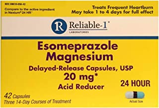 RELIABLE 1 LABORATORIES Esomeprazole Magnesium Delayed - Release Capsules USP 42 Count, 20Mg Best Acid Reducer (3 Bottles, 14 Count/ea)