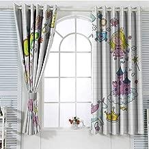 Jinguizi Grommet Window Curtain Blackout Curtain Unicorn Party,Fantastic Fairy Tale Elements Fire Breathing Dragon Princes Castle on Cloud,Multicolor Curtain Panels 55 x 63 inch