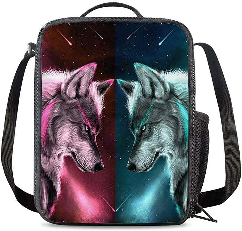 PrelerDIY Galaxy Wolf Lunch Bag Carrying Tote Insulated School Picnic Lunchbox Reusable Snack Bag For Girls Boys