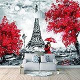 Papel Pintado 3D Murales Amantes del parís rojo- Fotomurales Para Salón Natural Landscape Foto Mural Pared, Dormitorio Corredor Oficina Moderno Festival Mural 150x105 cm - 3 tiras