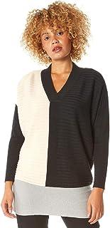 Roman Originals Jersey de manga larga con cuello en V para mujer, cuello en V, grueso, cálido, informal, para todos los dí...
