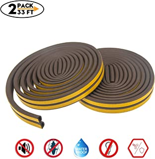 Weather Stripping for Door,Insulation Weatherproof Doors and Windows Soundproofing Seal Strip,Collision Avoidance Rubber Self-Adhesive Weatherstrip,2 Pack,Total 33Feet Long (Brown)