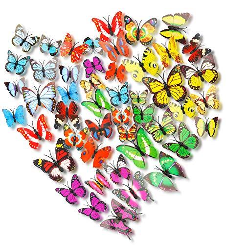 3D Papillons Papiers Décoration 72 Pcs,3D Papillon Autocollant,3D Papillon Stickers,3D Muraux Sticker de Papillon DIY,Bricolage Papillon Amovible Simulation D'artisanat pour Maison et Chambre Décor