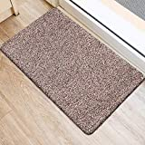 BEAU JARDIN Indoor Doormat Absorbent 60x90cm Latex Backing Non Slip Small Front Door Inside Floor Mud Dirt Trapper Mats Cotton Entrance Rug Shoes Scraper Machine Washable Carpet, Brownish Tan