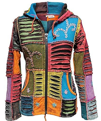 Shopoholic Mode Damen Stonewashed Bestickt Pixie Jacke Mit Kapuze, Mehrfarbig, 3XL