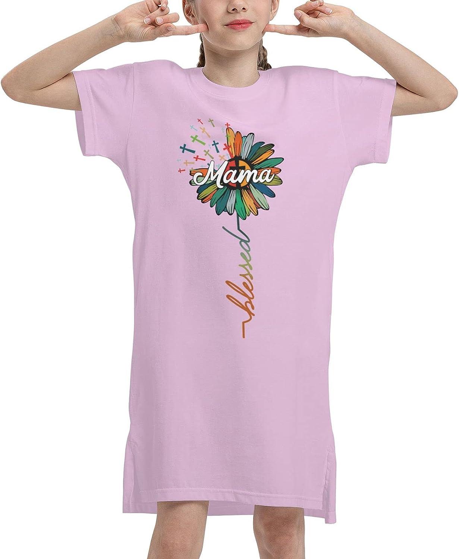 WAMEI Mama Summer Girls Dress Casual Cotton Short Sleeve Skirt Dresses for Girls Kids 7-12 Years