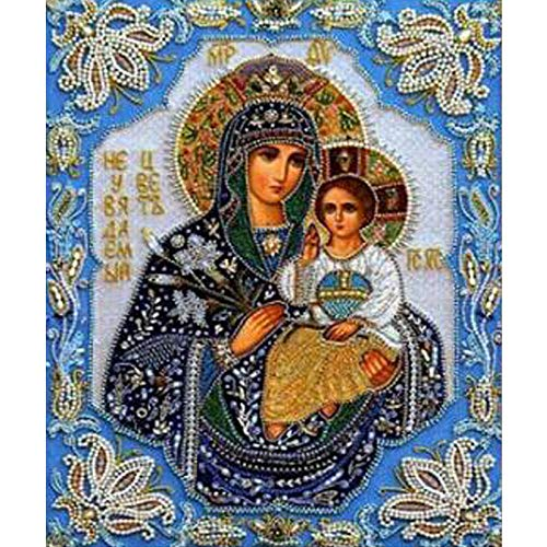 Hua5D 5D Diamond Painting Kit Grande Virgen Religiosa Punto De Cruz Diamante Completo Grande Bordado Diamantes Kits Full Drill For Adults Infantil 50x60cm