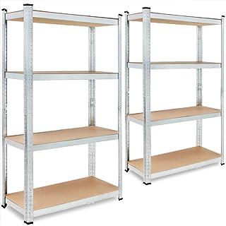 Deuba Lot de 2 étagères de rangement en métal à 4 étages sans boulons 160 x 90 x 40 cm 700 kg