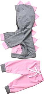 Newborn Baby Girls Spring Clothes Set Kids Long Sleeve 3D Dinosaur Hooded Tops + Long Pants Outfits