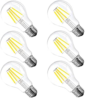 A60 4W LED Clear Light Bulb, LED Edison Bulb, Globe LED Light Bulbs, Filament LED Bulbs,E26 Base,400lm,4000K Daylight, Clear Glass Cover,6 Pack