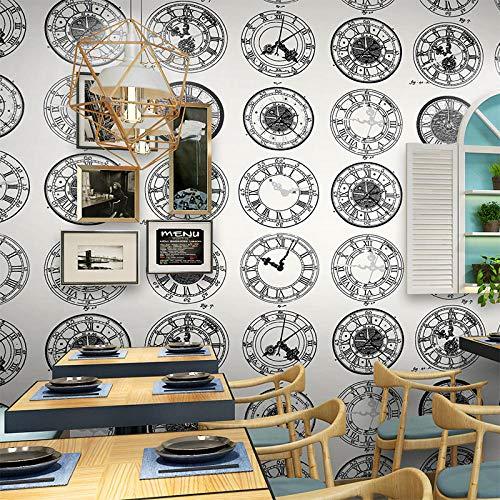 ACCEY Persönlichkeit Mode Uhr Fahrplan Peking Zeit Wallpaper Black Bar Cafe Hintergrund Industrielle Wind Wallpaper