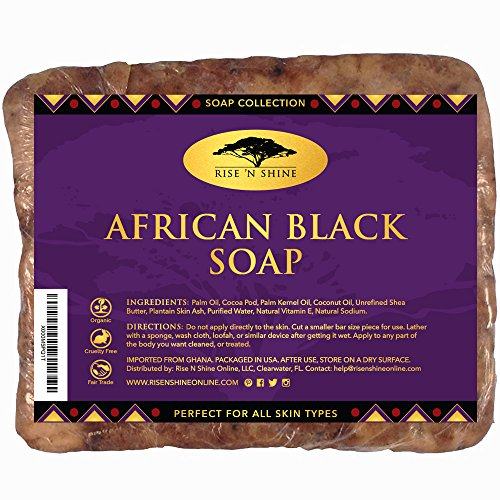 Raw African Black Soap Bar with Coconut Oil and Shea Butter - Body Wash, Shampoo and Face Wash...